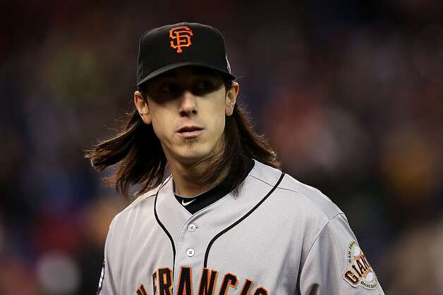 Tim Lincecum of the San Francisco Giants walks to the dugout after striking out swining Andy Dirks of the Detroit Tigers to end the eighth inning during Game Three of the Major League Baseball World Series at Comerica Park on October 27, 2012 in Detroit, Michigan. Photo: Ezra Shaw, Getty Images