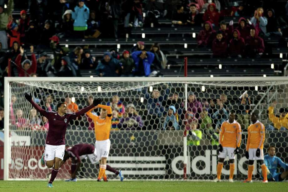 COMMERCE CITY, CO - OCTOBER 27:  Andre Akpan #19 of the Colorado Rapids celebrates after scoring a goal during the second half against the Houston Dynamo at Dick's Sporting Goods Park on October 27, 2012 in Commerce City, Colorado. The Rapids defeated the Dynamo 2-0. Photo: Justin Edmonds, Getty Images / Getty Images North America