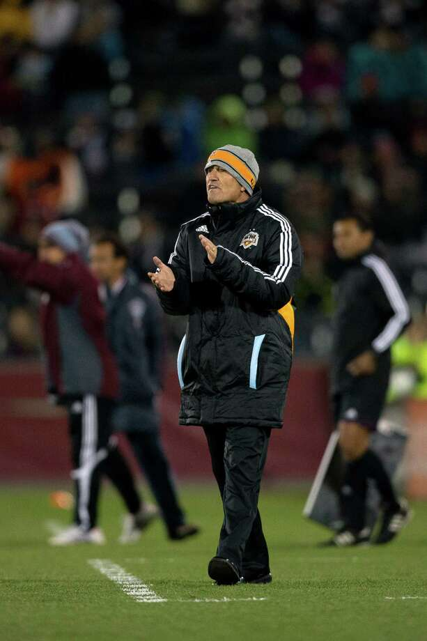 COMMERCE CITY, CO - OCTOBER 27:  Head coach Dominic Kinnear of the Houston Dynamo encourages his team during a game against the Colorado Rapids at Dick's Sporting Goods Park on October 27, 2012 in Commerce City, Colorado. The Rapids defeated the Dynamo 2-0. Photo: Justin Edmonds, Getty Images / Getty Images North America