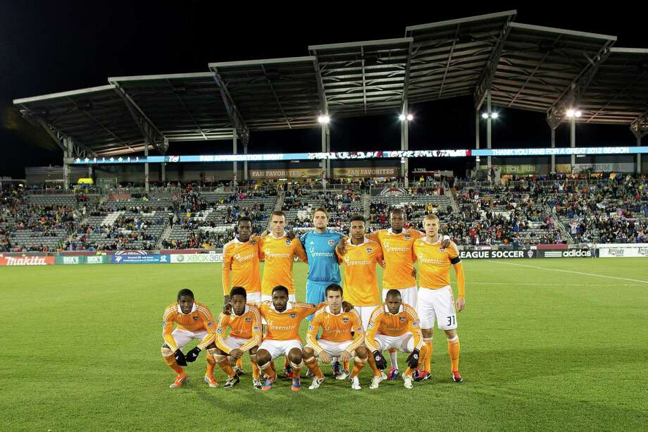 COMMERCE CITY, CO - OCTOBER 27:  The Houston Dynamo pose on the pitch before taking on the Colorado Rapids at Dick's Sporting Goods Park on October 27, 2012 in Commerce City, Colorado. Photo: Justin Edmonds, Getty Images / Getty Images North America