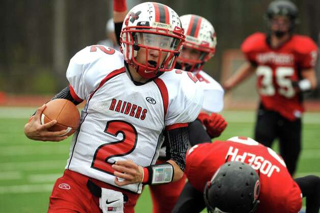 Mechanicville's Sal Cimino runs in for a score during their semifinal high school football game against Chatham in Stillwater, NY Saturday Oct. 27, 2012.  (Michael P. Farrell/Times Union) Photo: Michael P. Farrell