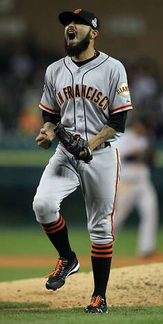 San Francisco Giants pitcher Sergio Romo celebrates their 2-0 win in game three of the World Series with the Detroit Tigers  at Comerica Park in Detroit, Mi., on Saturday, Oct. 27, 2012. Photo: Lance Iversen, The Chronicle