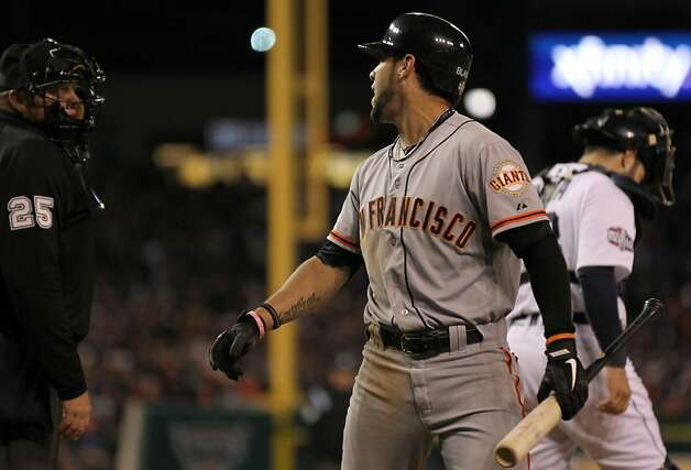 San Francisco Giants Gregor Blanco argues with Fielin Culbreth home plate umpite after being called out at home plate in the 9th inning of the World Series with the Detroit Tigers  at Comerica Park in Detroit, Mi., on Saturday, Oct. 27, 2012. Photo: Lance Iversen, The Chronicle