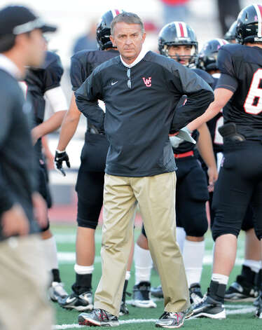 Churchill head coach Glenn Hill during a district 26-5A football game between the Roosevelt Rough Riders and the Churchill Chargers at Comalander Stadium in San Antonio, Saturday, October 27, 2012.