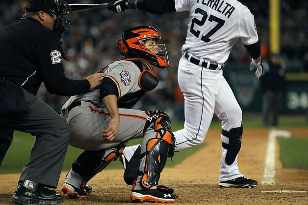 San Francisco Giants catcher Buster Posey works the 9th inning in game three of the World Series with the Detroit Tigers  at Comerica Park in Detroit, Mi., on Saturday, Oct. 27, 2012. Giants won 2-0 Photo: Lance Iversen, The Chronicle