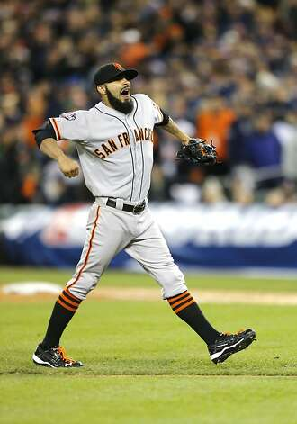 Giants' closer Sergio Romo closes out the ninth inning, as the San Francisco Giants beat the Detroit Tigers 2-0 to take game three of the World Series, on Saturday Oct. 27, 2012 , in Detroit, Michigan. The GIants now lead the series 3-0. Photo: Michael Macor, The Chronicle