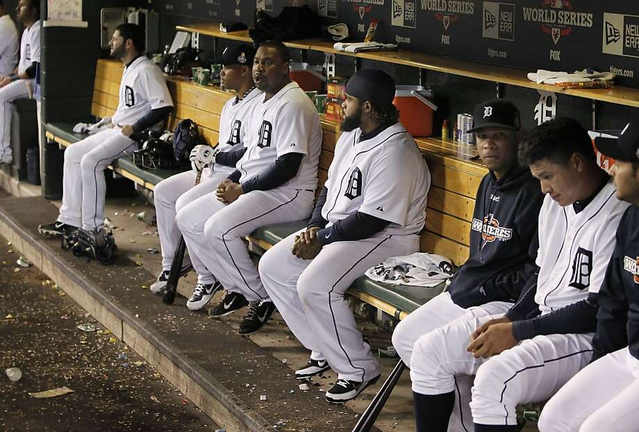 Tigers' bench with Prince Fielder, (center) late in the game, as the San Francisco Giants went on to beat the Detroit Tigers 2-0 to take game three of the World Series, on Saturday Oct. 27, 2012 , in Detroit, Michigan. The Giants now lead the series 3-0. Photo: Michael Macor, The Chronicle