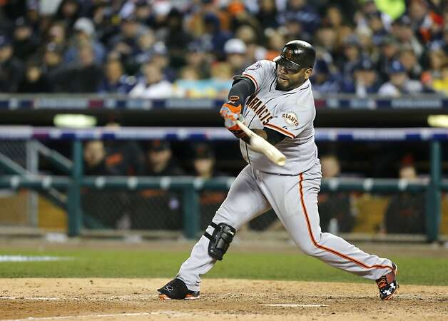 Giants' Pablo Sandoval with a ninth inning double, as the San Francisco Giants went on to beat the Detroit Tigers 2-0 to take game three of the World Series, on Saturday Oct. 27, 2012 , in Detroit, Michigan. The Giants now lead the series 3-0. Photo: Michael Macor, The Chronicle
