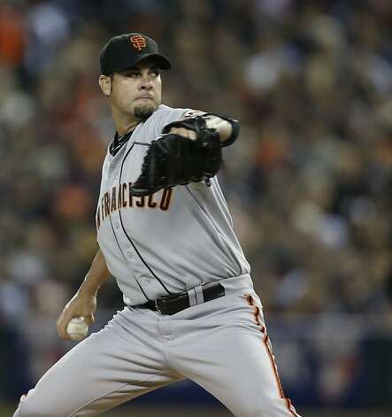 Giants' pitcher Ryan Vogelsong throws in the 1st inning during game 3 of the World Series at Comerica Park on Saturday, Oct. 27, 2012 in Detroit, MI. Photo: Michael Macor, The Chronicle