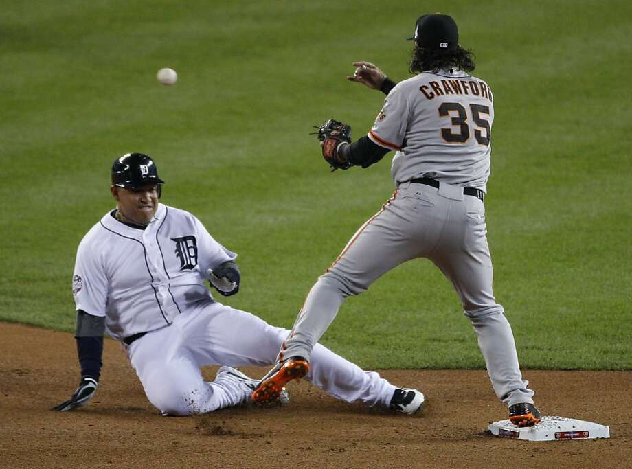 Tigers' third baseman Miguel Cabrera is out at 2nd base on a double play during the World Series game 3 at Comerica Park in Detroit, MI, on Saturday, Oct. 27, 2012. Photo: Carlos Avila Gonzalez, The Chronicle