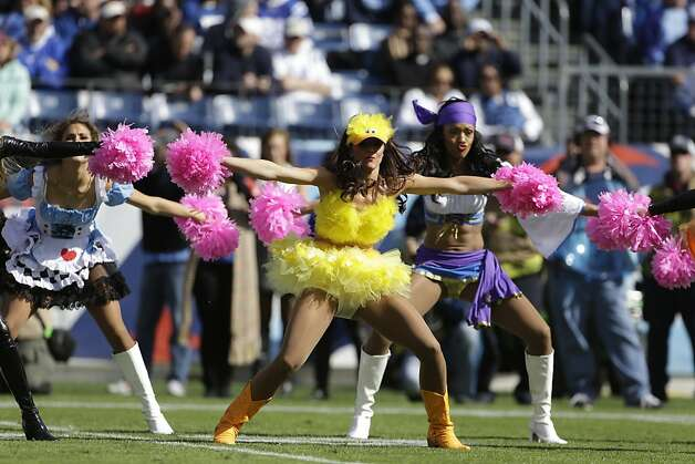 Tennessee Titans cheerleaders perform while wearing Halloween costumes during the first half of an NFL football game against the Indianapolis Colts, Sunday, Oct. 28, 2012, in Nashville, Tenn. (AP Photo/Mark Humphrey) Photo: Mark Humphrey, Associated Press