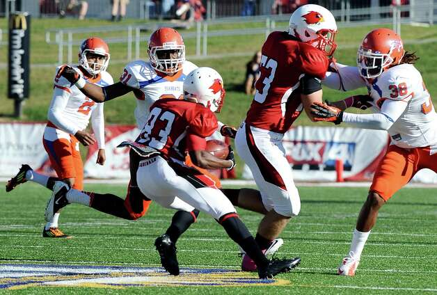 Lamar wide receiver VanLawrence Franks returns a kickoff during the football game between Lamar University and Sam Houston State University at Provost Umphrey Stadium on Saturday, October 27, 2012. Photo taken: Randy Edwards/The Enterprise