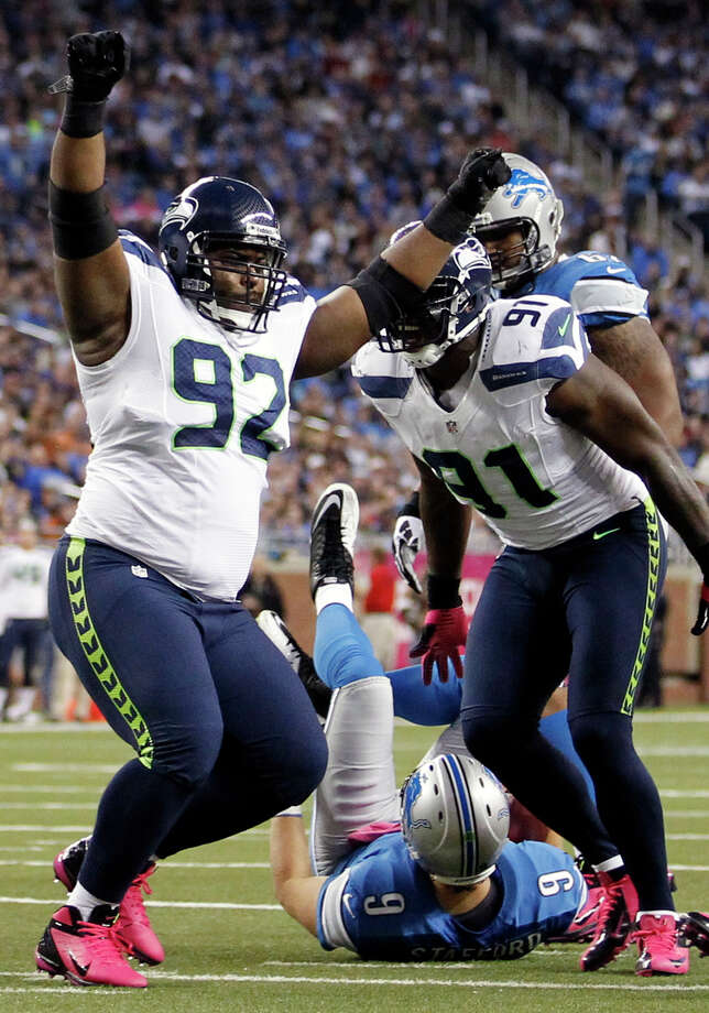 Seattle Seahawks defensive tackle Brandon Mebane (92) celebrates after sacking Detroit Lions quarterback Matthew Stafford (9) in the first half of an NFL football game on Sunday, Oct. 28, 2012, in Detroit. Photo: AP