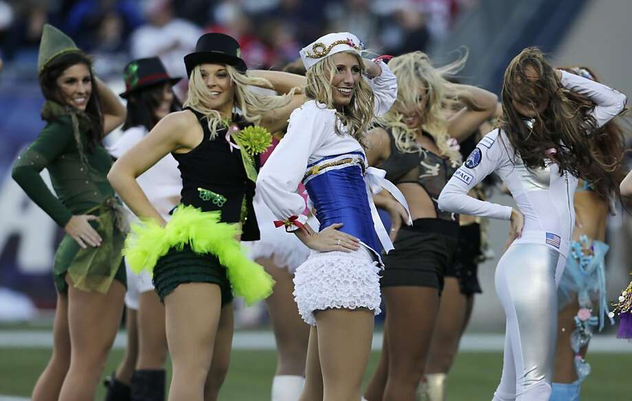 New England Patriots cheerleaders dressed for Halloween during NFL football game in Foxborough, Mass., Sunday, Oct. 21, 2012. (AP Photo/Charles Krupa) Photo: Charles Krupa, Associated Press