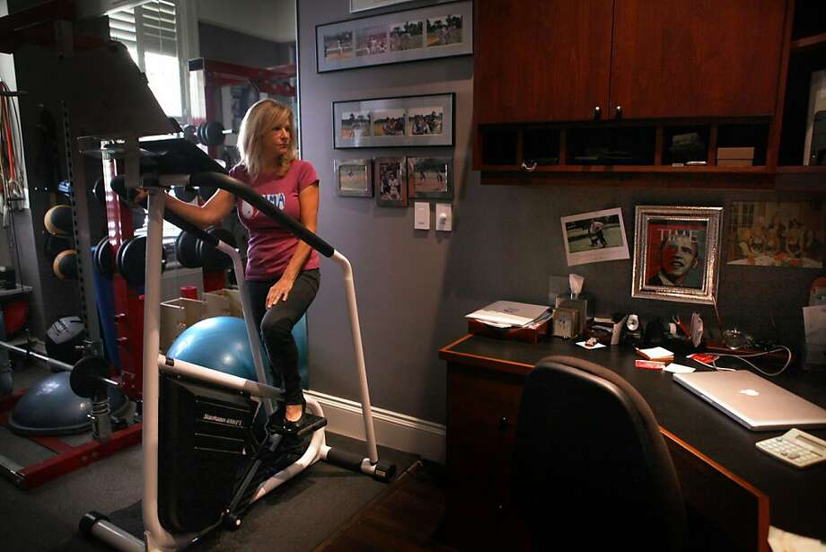 Kay Edelman says she sometimes finds it hard to exercise as she worries about an Obama loss. Photo: Liz Hafalia, The Chronicle
