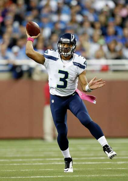 Seattle Seahawks quarterback Russell Wilson (3) throws a pass in the second half of an NFL football