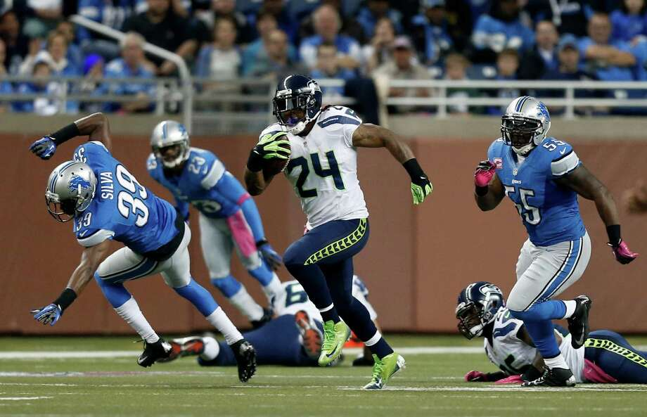 Seattle Seahawks running back Marshawn Lynch (24) rushes against the Detroit Lions in the first half of an NFL football game, Sunday, Oct. 28, 2012. in Detroit. Photo: AP