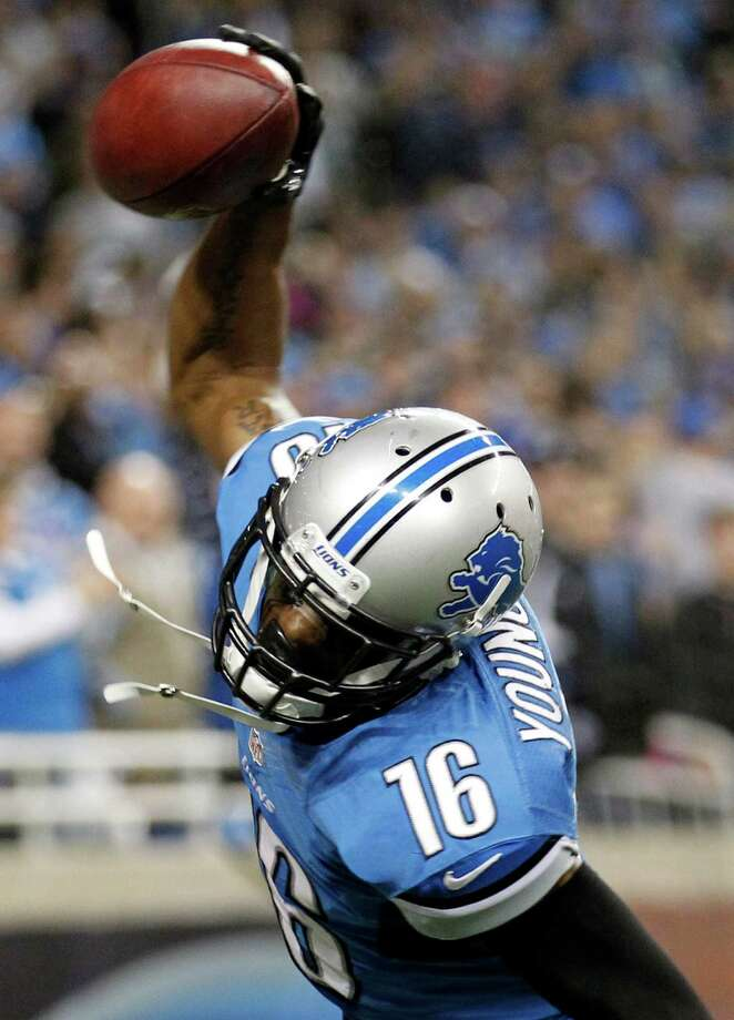 Detroit Lions wide receiver Titus Young (16) spike the ball after scoring the game winning touchdown in the second half of an NFL football game against the Seattle Seahawks, Sunday, Oct. 28, 2012. in Detroit. The Lions won 28-24. Photo: AP