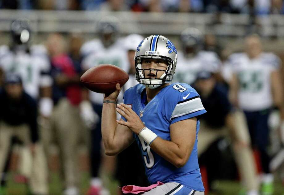 Detroit Lions quarterback Matthew Stafford (9) looks to throw against the Seattle Seahawks in the first half of an NFL football game, Sunday, Oct. 28, 2012. in Detroit. Photo: AP