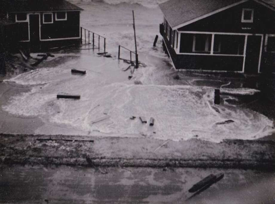 This old photo, courtesy of John Gallbronner and the WalnutBeach/Myrtle Beach Historical Society, shows damage in Milford following the hurricane of September, 1938. Photo: Contributed Photo / CT