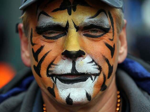 Tigers fan John Kruger wears his team colors on his face. The San Francisco Giants play the Detroit Tigers at Comerica Park in Detroit, Mi., in game four of the World Series, Sunday, Oct. 28, 2012. Photo: Lance Iversen, The Chronicle