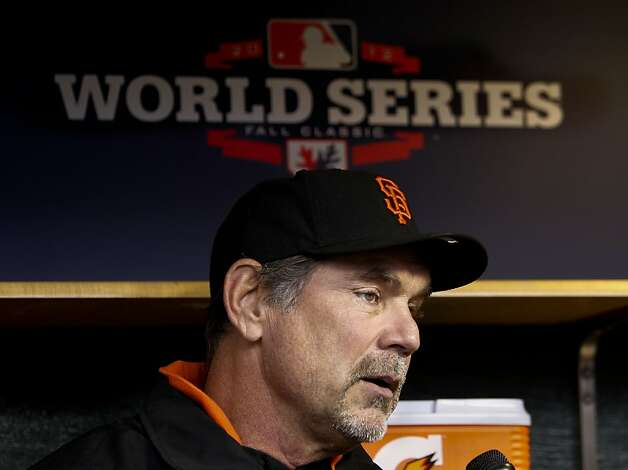 Giants' manager Bruce Bochy speaks with reporters, as the San Francisco Giants prepare to take on the Detroit Tigers in game four of the World Series on Sunday Oct. 28, 2012  at Comerica Park in Detroit, Michigan. Photo: Michael Macor, The Chronicle