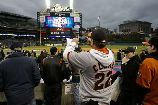 Craig Hickman, of Nova Scotia, Canada watches the Giants as they take batting practice, as San Francisco prepares to take on the Detroit Tigers in game four of the World Series on Sunday Oct. 28, 2012  at Comerica Park in Detroit, Michigan. Photo: Michael Macor, The Chronicle