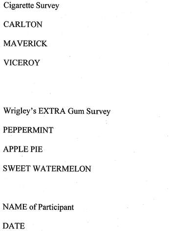 This is a sample of the cigarette and gum survey Seattle police used on Gary Raub, who has been charged with the 1976 stabbing death of a Maine woman. (Seattle Police Department/seattlepi.com)