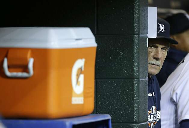 Detroit Tigers manager Jim Leyland watches from from the dugout before Game 4 of baseball's World Series against the San Francisco Giants Sunday, Oct. 28, 2012, in Detroit. The Giants lead the series 3-0. (AP Photo/Matt Slocum) Photo: Matt Slocum, Associated Press