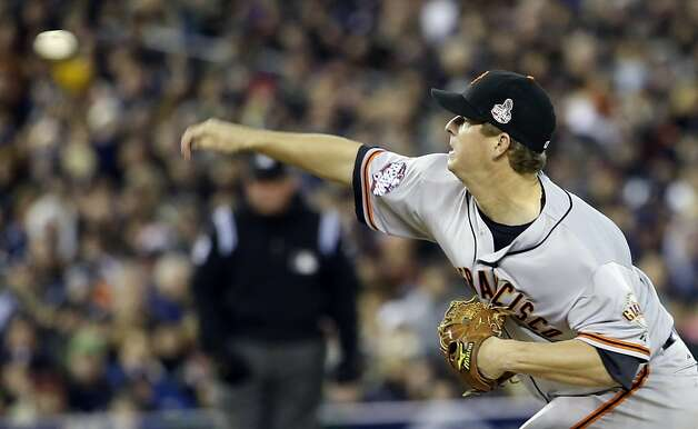 San Francisco Giants starting pitcher Matt Cain throws during the first inning of Game 4 of baseball's World Series against the Detroit Tigers Sunday, Oct. 28, 2012, in Detroit. (AP Photo/David J. Phillip) Photo: David J. Phillip, Associated Press