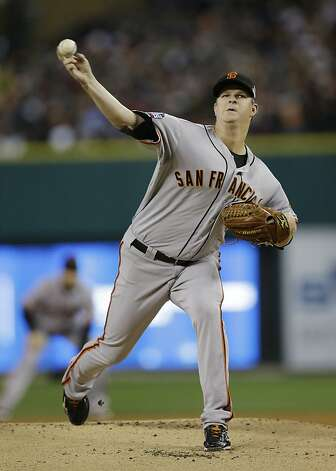 San Francisco Giants starting pitcher Matt Cain throws during the first inning of Game 4 of baseball's World Series against the Detroit Tigers Sunday, Oct. 28, 2012, in Detroit. (AP Photo/Matt Slocum) Photo: Matt Slocum, Associated Press