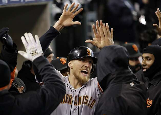 San Francisco Giants' Hunter Pence reacts in the dugout after scoring a run during the second inning of Game 4 of baseball's World Series against the Detroit Tigers Sunday, Oct. 28, 2012, in Detroit. (AP Photo/David J. Phillip) Photo: David J. Phillip, Associated Press