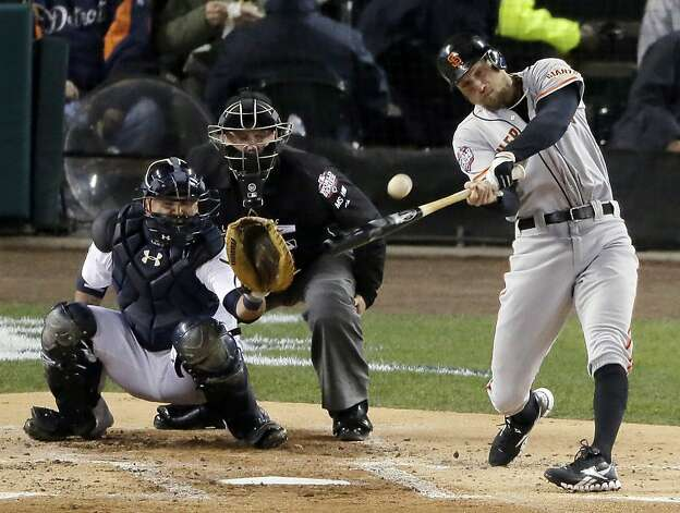 San Francisco Giants right fielder Hunter Pence hits a ground rule double during the second inning of Game 4 of baseball's World Series against the Detroit Tigers Sunday, Oct. 28, 2012, in Detroit. (AP Photo/Charlie Riedel) Photo: Charlie Riedel, Associated Press