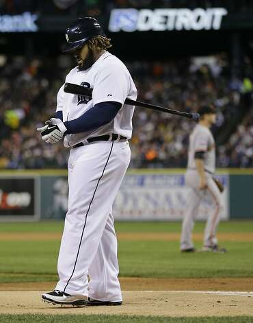 Detroit Tigers' Prince Fielder reacts after striking out during the first inning of Game 4 of baseball's World Series against the San Francisco Giants Sunday, Oct. 28, 2012, in Detroit. (AP Photo/Matt Slocum) Photo: Matt Slocum, Associated Press