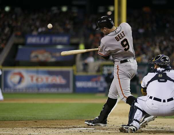 San Francisco Giants' Brandon Belt hits an RBI double during the second inning of Game 4 of baseball's World Series against the Detroit Tigers Sunday, Oct. 28, 2012, in Detroit. (AP Photo/Matt Slocum) Photo: Matt Slocum, Associated Press