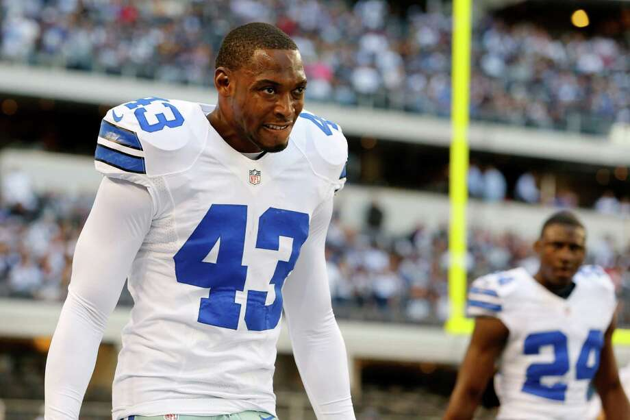 Dallas Cowboys safety Gerald Sensabaugh (43) and cornerback Morris Claiborne (24) before an NFL football game against the New York Giants Sunday, Oct. 28, 2012 in Arlington, Texas. (AP Photo/Sharon Ellman) Photo: Sharon Ellman, Associated Press / FR170032 AP