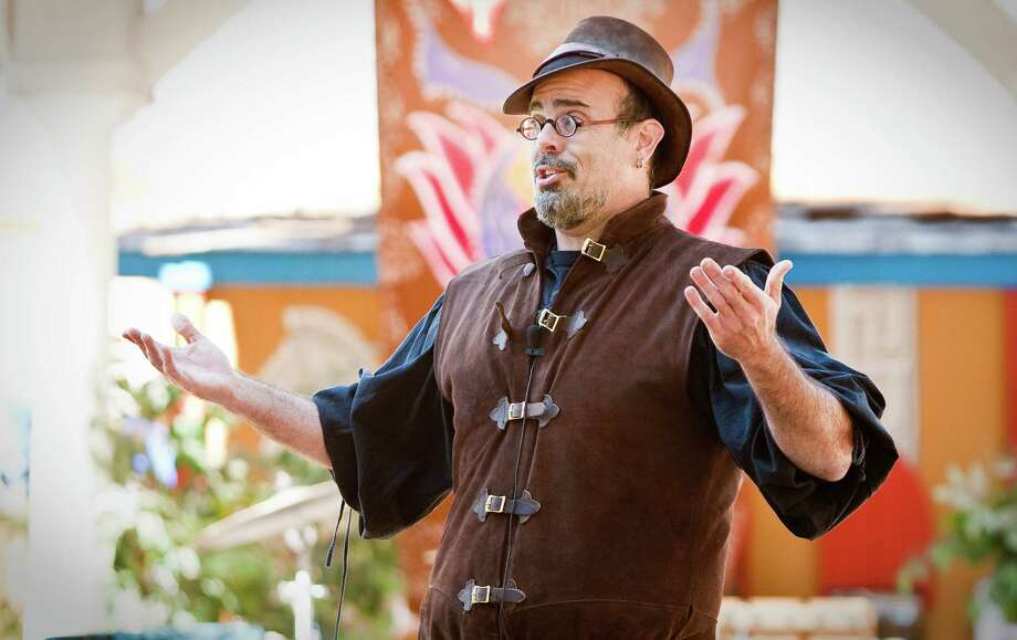Christophe the Insulter does his crude yet funny comedy bit at the Greek Agora stage during the Texas Renaissance Festival, Sunday, Oct. 28, 2012,  in Todd Mission. The festival will continue until November 25th. Photo: Nick De La Torre, Houston Chronicle / Houston Chronicle