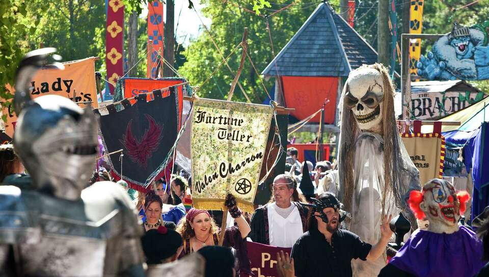 The Texas Renaissance Festival morning parade had the festivals street wakers, performers and royalt
