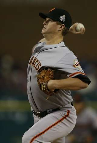 Giants' pitcher Matt Cain throws in the 1st inning during game 4 of the World Series at Comerica Park on Sunday, Oct. 28, 2012 in Detroit, MI. Photo: Michael Macor, The Chronicle