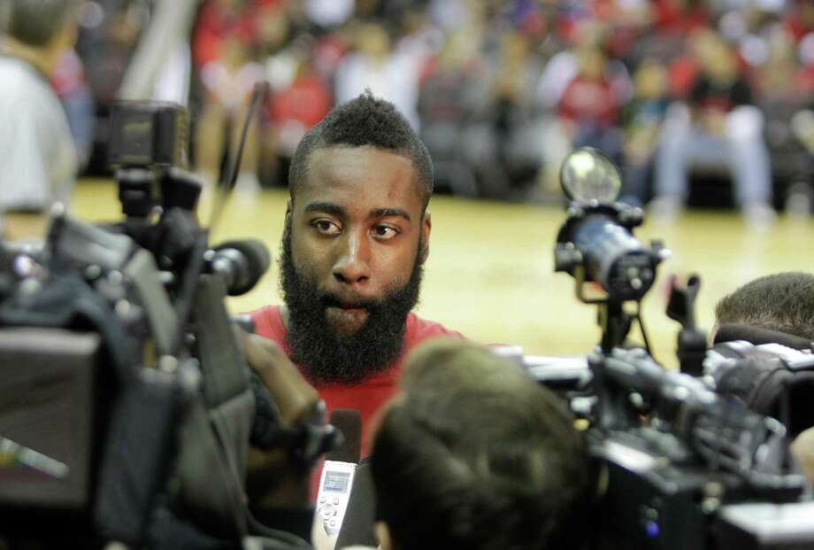 Newly acquired Houston Rockets' guard James Harden speaks with the media during open practice at Toyota Center Sunday, Oct. 28, 2012, in Houston. Photo: Melissa Phillip, Houston Chronicle / Houston Chronicle