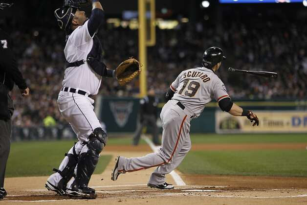 Giants' 2nd baseman Marco Scutaro tosses his bat as he flies out in the 1st inning during game 4 of the World Series at Comerica Park on Sunday, Oct. 28, 2012 in Detroit, MI. Photo: Michael Macor, The Chronicle