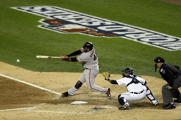 San Francisco Giants' Pablo Sandoval hits a single during the third inning of Game 4 of baseball's World Series against the Detroit Tigers Sunday, Oct. 28, 2012, in Detroit. (AP Photo/Patrick Semansky) Photo: Patrick Semansky, Associated Press