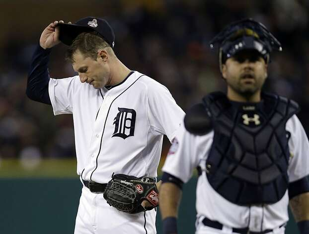 Detroit Tigers starting pitcher Max Scherzer reacts after giving up a hit to San Francisco Giants' Angel Pagan during the third inning of Game 4 of baseball's World Series Sunday, Oct. 28, 2012, in Detroit. (AP Photo/Matt Slocum) Photo: Matt Slocum, Associated Press