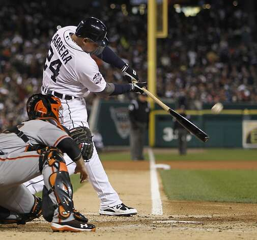 Tigers' third baseman Miguel Cabrera hits a 2-run homer in the 3rd inning during game 4 of the World Series at Comerica Park on Sunday, Oct. 28, 2012 in Detroit, MI. Photo: Michael Macor, The Chronicle