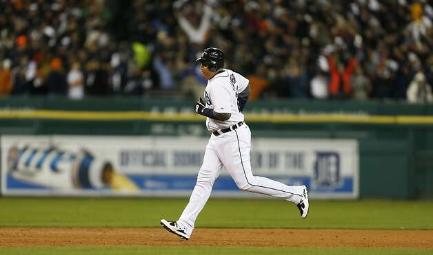Tigers' third baseman Miguel Cabrera rounds the bases after hitting a 2-run homer in the 3rd inning during game 4 of the World Series at Comerica Park on Sunday, Oct. 28, 2012 in Detroit, MI. Photo: Michael Macor, The Chronicle