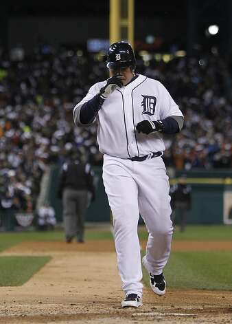 Tigers' third baseman Miguel Cabrera runs home after hitting a 2-run homer in the 3rd inning during game 4 of the World Series at Comerica Park on Sunday, Oct. 28, 2012 in Detroit, MI. Photo: Michael Macor, The Chronicle