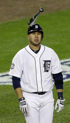 Detroit Tigers' Jhonny Peralta flips his bat after striking out during the fourth inning of Game 4 of baseball's World Series against the San Francisco Giants Sunday, Oct. 28, 2012, in Detroit. (AP Photo/Paul Sancya ) Photo: Paul Sancya, Associated Press