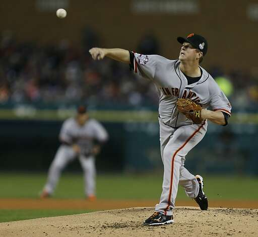 Giants' pitcher Matt Cain throws in the 3rd inning during game 4 of the World Series at Comerica Park on Sunday, Oct. 28, 2012 in Detroit, MI. Photo: Michael Macor, The Chronicle