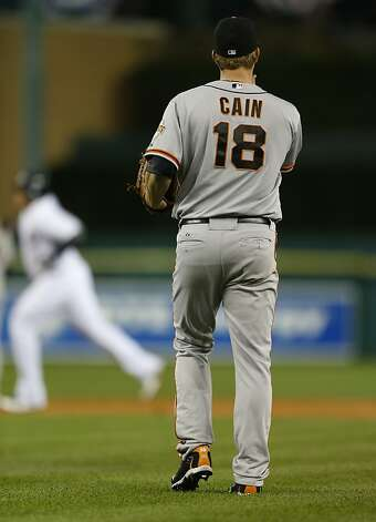 Giants' pitcher Matt Cain watches as Miguel Cabrera rounds the bases in the 3rd inning during game 4 of the World Series at Comerica Park on Sunday, Oct. 28, 2012 in Detroit, MI. Photo: Michael Macor, The Chronicle