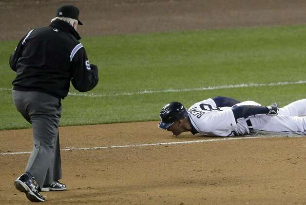 Detroit Tigers left fielder Quintin Berry reacts as he grounds out during the fifth inning of Game 4 of baseball's World Series against the San Francisco Giants Sunday, Oct. 28, 2012, in Detroit. (AP Photo/Charlie Riedel) Photo: Charlie Riedel, Associated Press